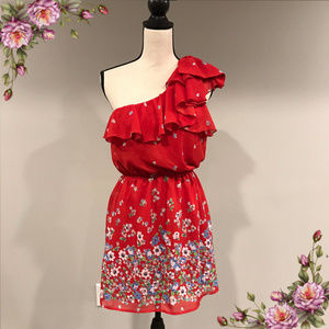 MAKE AN OFFER ;) One Shoulder Floral red Dress